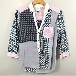 Anthropologie HD in Paris Patchwork Popover Blouse
